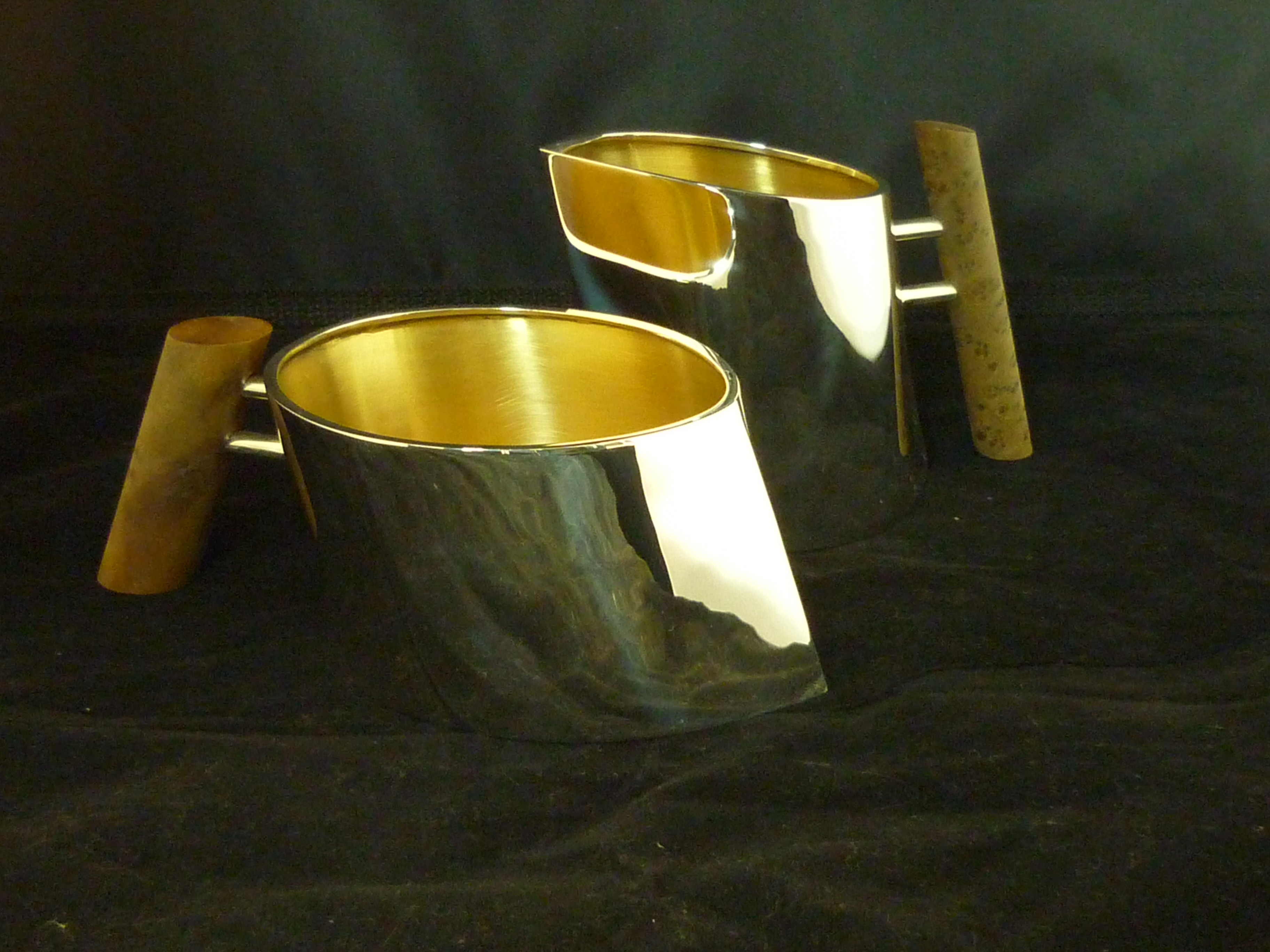 sugar and cream set - sterling silver with nut burl handles - inside gold plated