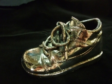 silver plated baby shoe