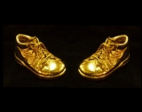 gold plating pair of baby shoes