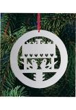 X-mas tree decoration silver plated aviary